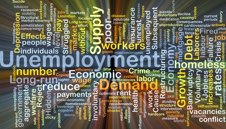 Background concept wordcloud illustration of unemployment glowing light