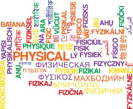Background concept wordcloud multilanguage international many language illustration of physical
