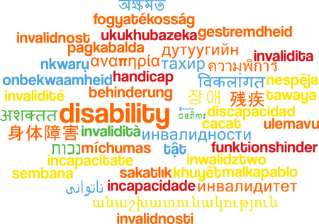 disability: Background concept wordcloud multilanguage international many language illustration of disability