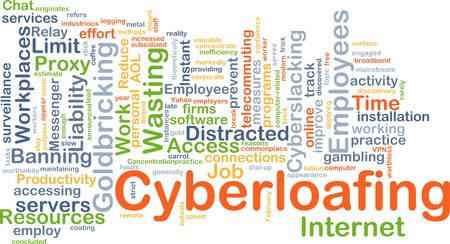 proxy: Background concept wordcloud illustration of cyberloafing Stock Photo