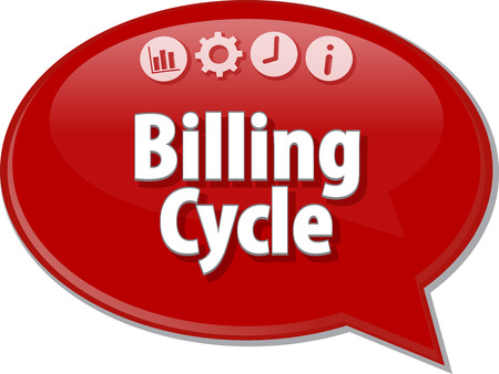 billing: Speech bubble dialog illustration of business term saying Billing Cycle Stock Photo