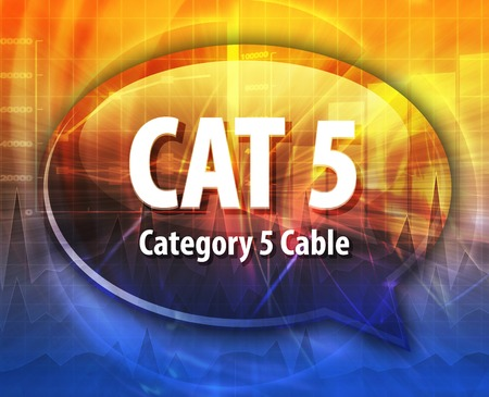 category: Speech bubble illustration of information technology acronym abbreviation term definition CAT 5 Category 5 cable