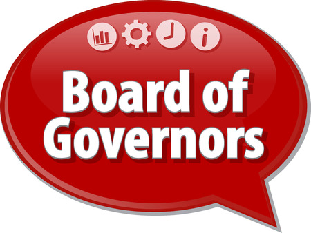 terminology: Speech bubble dialog illustration of business term saying Board of Governers