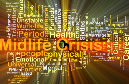 Background concept wordcloud illustration of midlife crisis glowing light