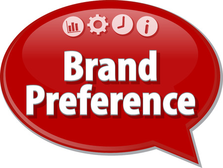 preference: Speech bubble dialog illustration of business term saying Brand Preference