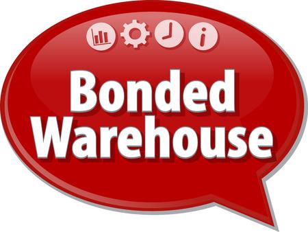 Speech bubble dialoog illustratie van zakelijke term te zeggen Bonded Warehouse