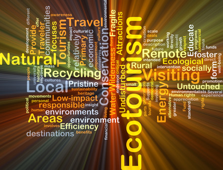 foster: Background concept wordcloud illustration of ecotourism glowing light Stock Photo