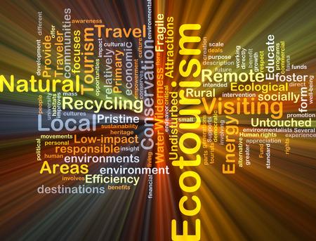 turismo ecologico: Concepto de fondo wordcloud ilustración de la luz que brilla intensamente el ecoturismo Foto de archivo