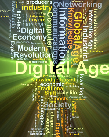 new age: Background concept wordcloud illustration of digital age glowing light Stock Photo