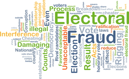 electoral: Background concept wordcloud illustration of electoral fraud
