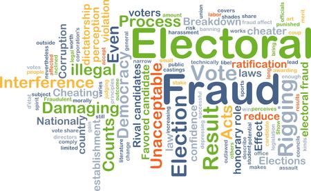damaging: Background concept wordcloud illustration of electoral fraud