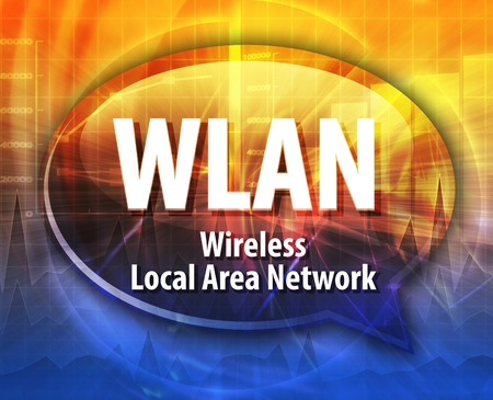 wlan: Speech bubble illustration of information technology acronym abbreviation term definition WLAN Wireless Local Area Network