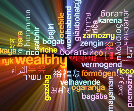 wealthy: Background concept wordcloud multilanguage international many language illustration of wealthy glowing light