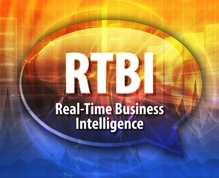 definition: Speech bubble illustration of information technology acronym abbreviation term definition Real Time Business Intelligence Stock Photo