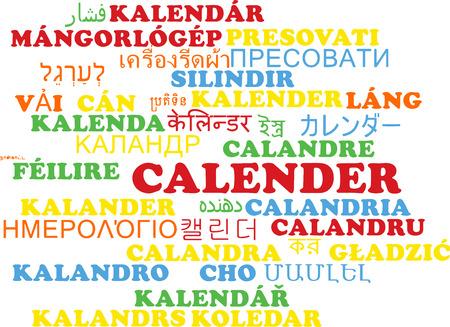 Background concept wordcloud multilanguage international many language illustration of calender