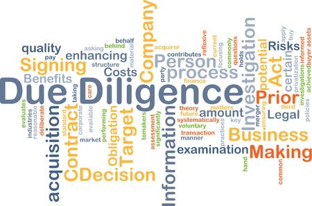 Wordcloud Hintergrund Konzept der Due Diligence