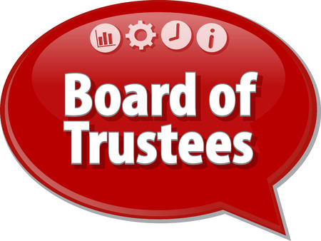 Speech bubble dialog illustration of business term saying Board of Trustees Stok Fotoğraf - 43980008