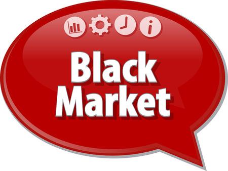term: Speech bubble dialog illustration of business term saying Black Market