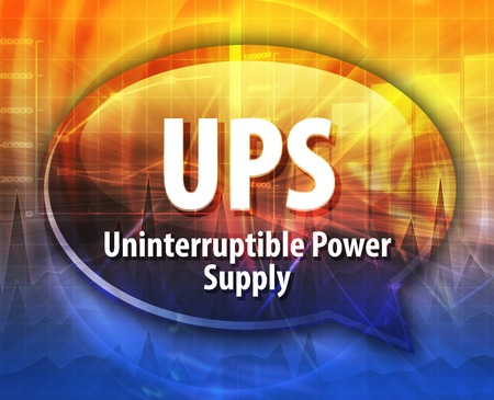 Speech bubble illustratie van de informatietechnologie acroniem afkorting term definitie UPS Uninterruptible Power Supply