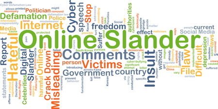 slander: Background concept wordcloud illustration of online slander Stock Photo