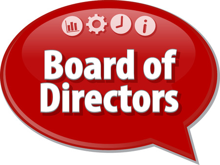 terminology: Speech bubble dialog illustration of business term saying Board of Directors