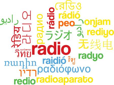 multilanguage: Background concept wordcloud multilanguage international many language illustration of radio