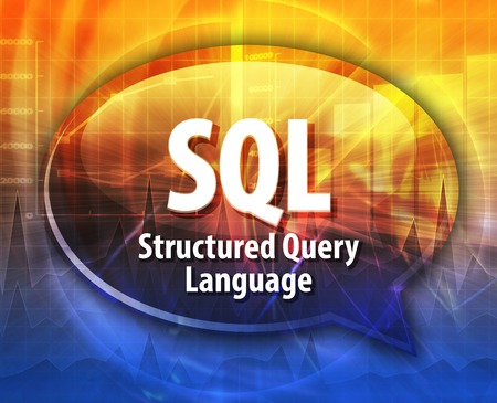 query: Speech bubble illustration of information technology acronym abbreviation term definition SQL Structured Query Language Stock Photo