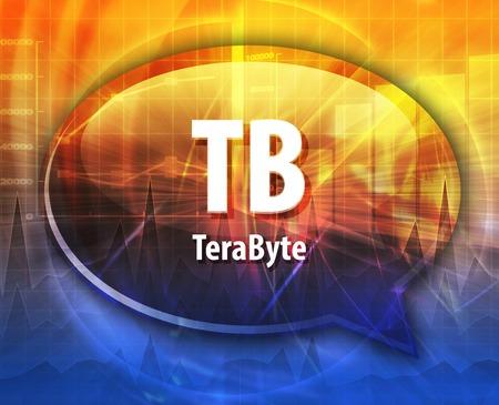 Speech bubble illustration of information technology acronym abbreviation term definition TB terabyte