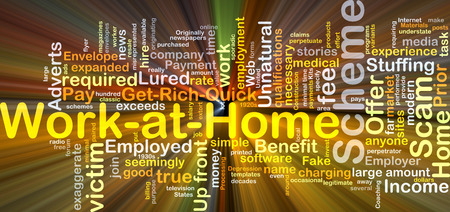 exaggerate: Background concept wordcloud illustration of work at home scheme glowing light Stock Photo