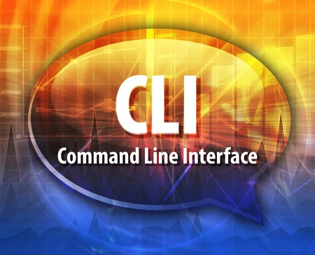 command: Speech bubble illustration of information technology acronym abbreviation term definition CLI Command Line Interface Stock Photo