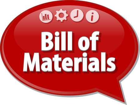 terminology: Speech bubble dialog illustration of business term saying Bill of Materials Stock Photo