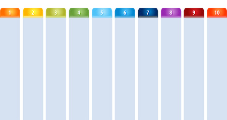 tabbed: Blank business strategy concept infographic diagram illustration Tab Items Ten Stock Photo