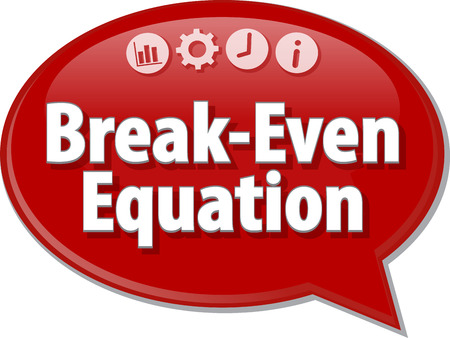 saying: Speech bubble dialog illustration of business term saying Break-Even Equation