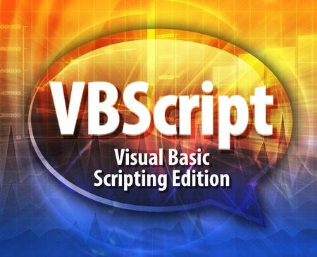 scripting: Speech bubble illustration of information technology acronym abbreviation term definition VBScript Visual Basic Scripting Edition