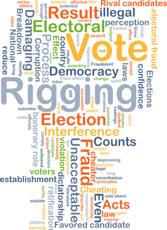 ratification: Background concept wordcloud illustration of vote rigging