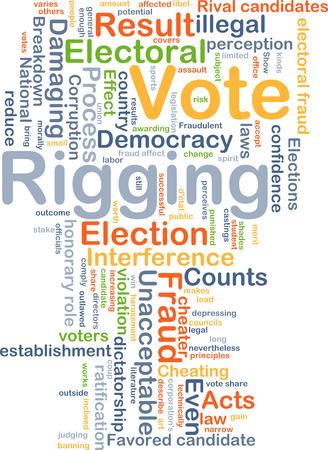 Background concept wordcloud illustration of vote rigging