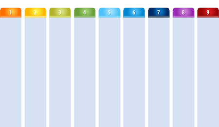 tabbed: Blank business strategy concept infographic diagram illustration Tab Items Nine