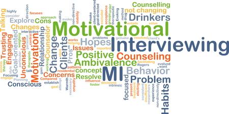Achtergrond concept wordcloud illustratie van motivational interviewing