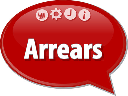 terminology: Speech bubble dialog illustration of business term saying Arrears