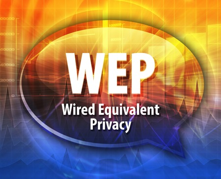wep: Speech bubble illustration of information technology acronym abbreviation term definition WEP Wired Equivalent Privacy