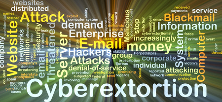 extortion: Background concept wordcloud illustration of cyberextortion glowing light Stock Photo