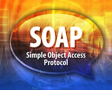 Speech bubble illustration of information technology acronym abbreviation term definition SOAP Simple Object Access Protocol Stock Photo