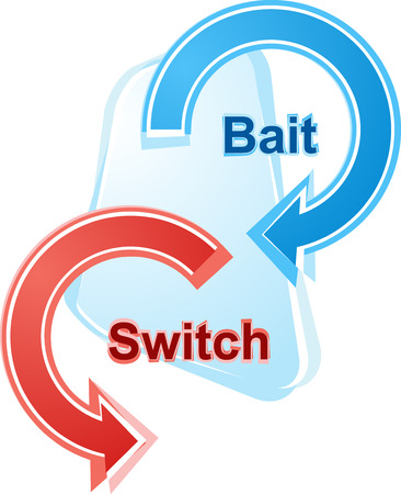 cheat: business strategy concept infographic diagram illustration of bait and switch