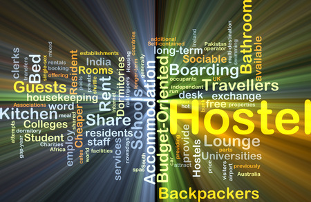 hostel: Background concept wordcloud illustration of hostel glowing light