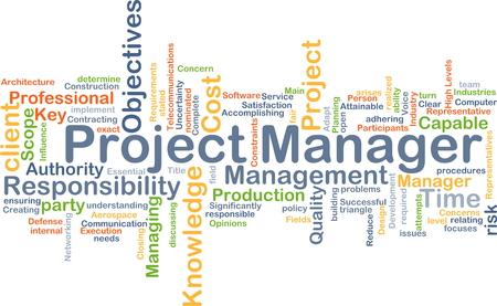 Wordcloud Hintergrund Konzept der Projektmanager Standard-Bild - 45569944