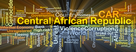 genocide: Background concept wordcloud illustration of Central African Republic CAR glowing light