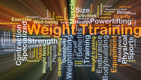 weight: Background concept wordcloud illustration of weight training glowing light