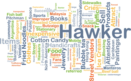 hawker: Background concept wordcloud illustration of hawker