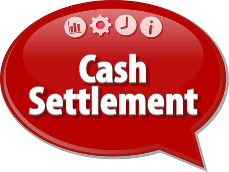 the settlement: Speech bubble dialog illustration of business term saying Cash Settlement