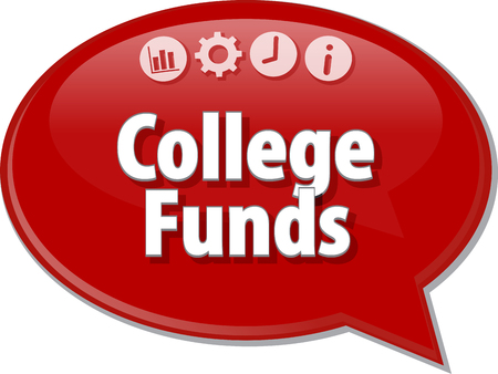 annuity: Speech bubble dialog illustration of business term saying College Funds